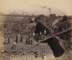 View of east wall from S.-E. corner looking N. [Victoria Dock construction, Bombay].